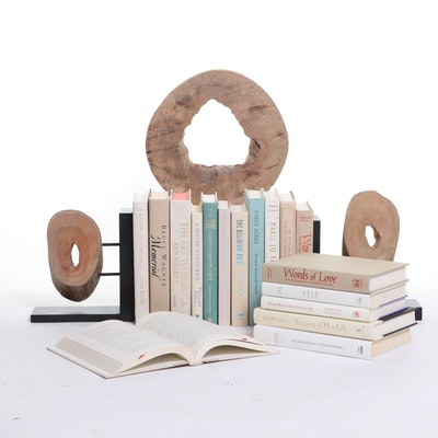 """Ironwood II"" Wood Sculpture with Matching Bookends and Books"