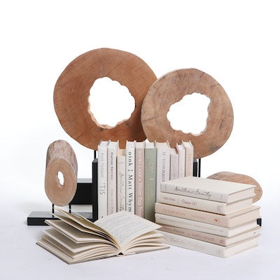 """Ironwood II"" Wood Sculptures with Matching Bookends and Books"