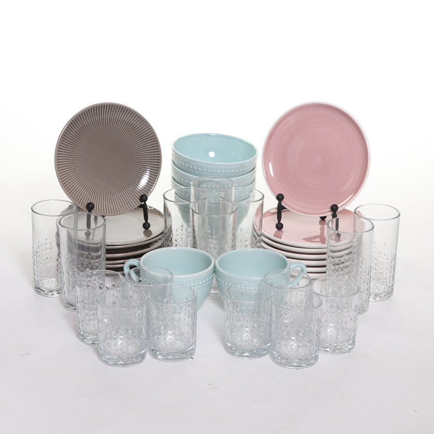 World Market and Matceramica Dinnerware and Quilt Pattern Glass Tumblers