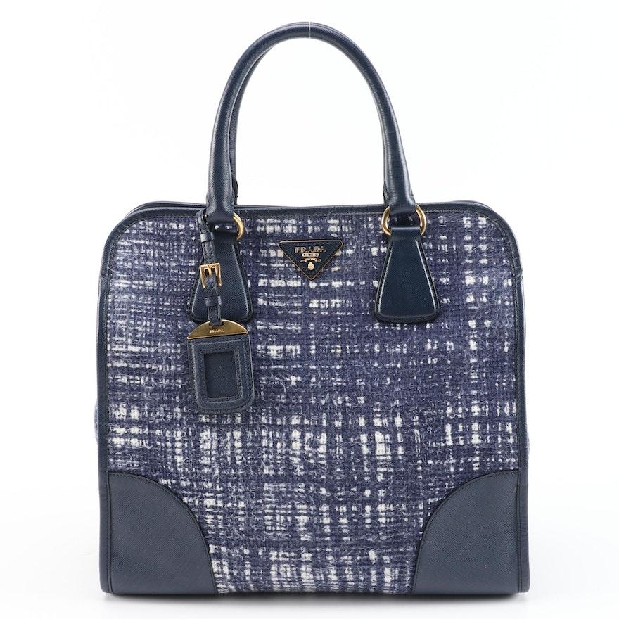 Prada Two-Way Satchel in Tela Tweed with Inchiostro Saffiano Leather Trim