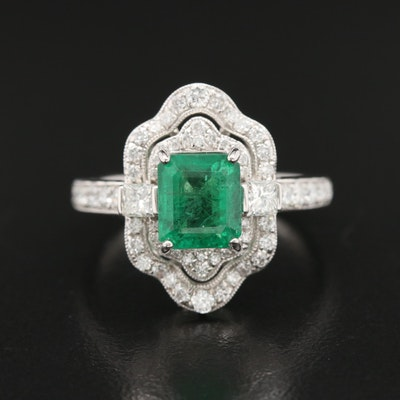 Platinum Emerald and 0.96 CTW Diamond Ring
