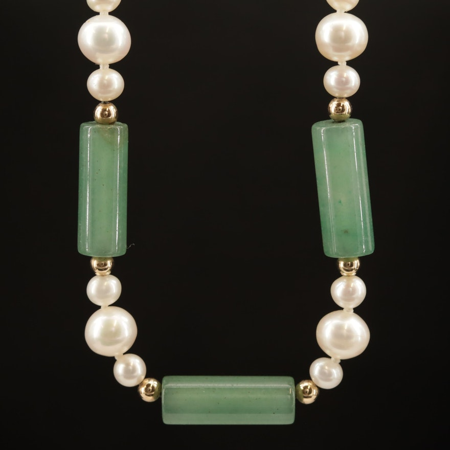 14K Pearl and Serpentine Necklace