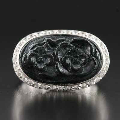14K Carved Obsidian Ring with Diopside and Topaz