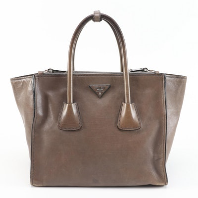 Prada Twin Pocket Winged Two-Way Tote Bag in Taupe Calf Leather