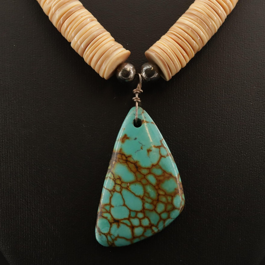 Turquoise and Shell Graduated Heishi Necklace