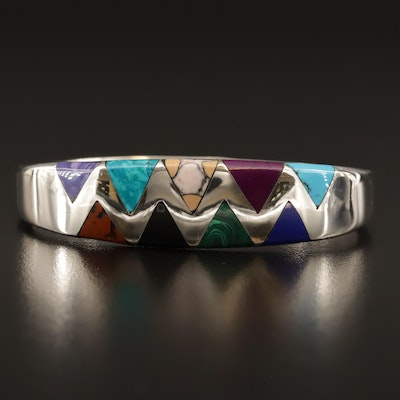 Sterling Silver Multicolor Sawtooth Inlay Bracelet