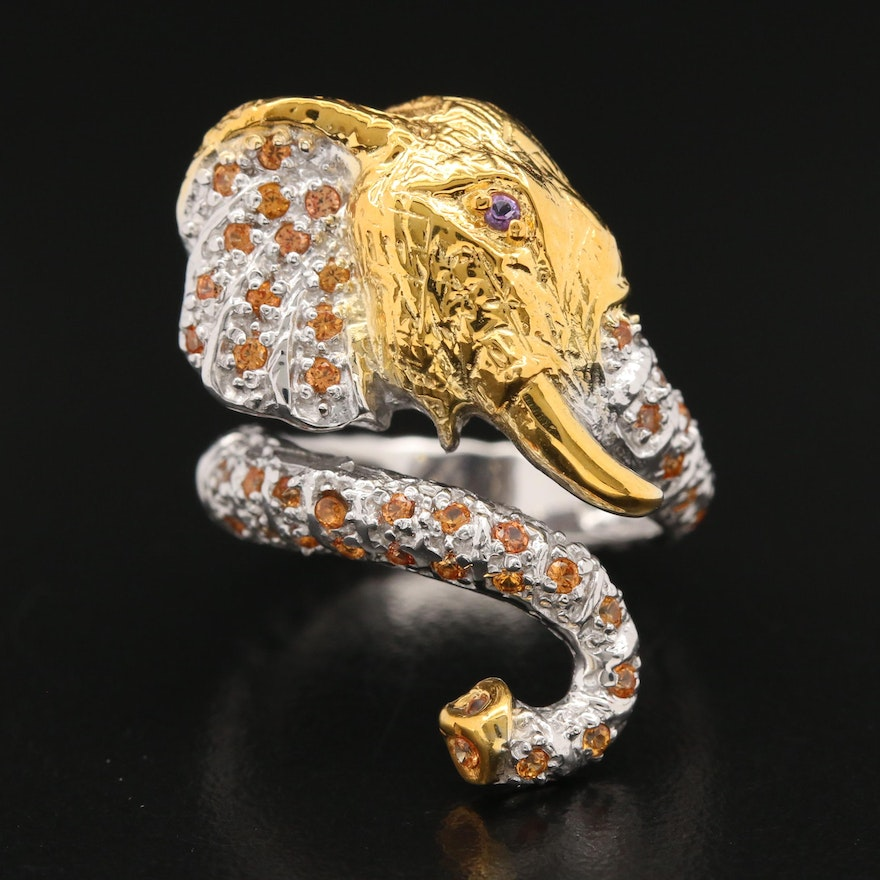 Sterling Sapphire and Amethyst Elephant Ring