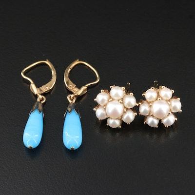 14K Pearl Cluster Earrings with Glass Drop Earrings