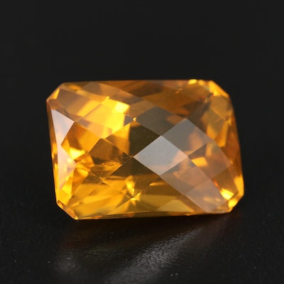 Loose 22.92 CT Checkerboard Faceted Citrine