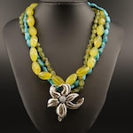 Simon Sebbag Designs Sterling Turquoise, Chalcedony and Peridot Floral Necklace