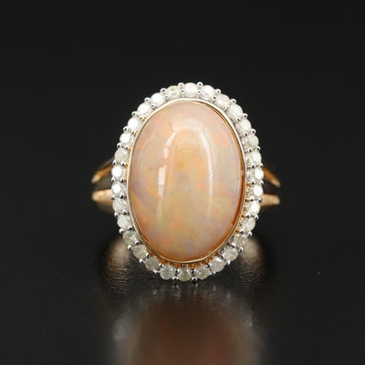 Sterling Opal Ring with Diamond Halo