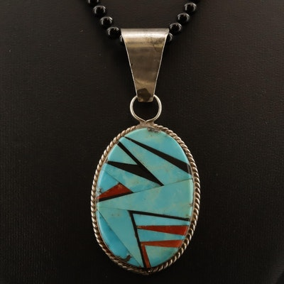 Signed Western Sterling Black Onyx, Turquoise and Spiny Oyster Necklace