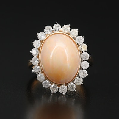 Sterling Silver Opal Ring with 1.00 CTW Diamond Halo