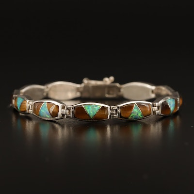 Western Sterling Tiger's Eye, Labradorite and Opal Inlay Bracelet