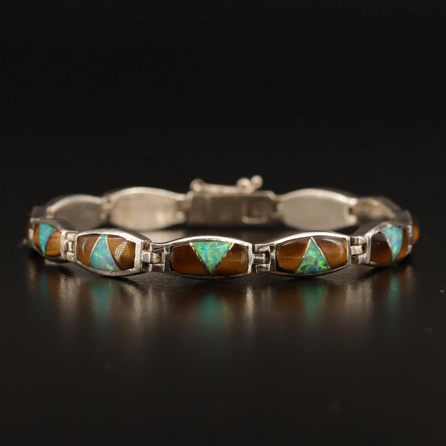 Western Sterling Tiger's Eye, Labradorite and Opal Inlay Bracelet