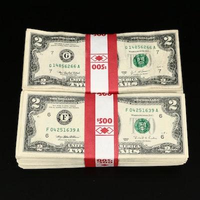Five Hundred $2 Federal Reserve Notes in Two $500 Banded Bundles