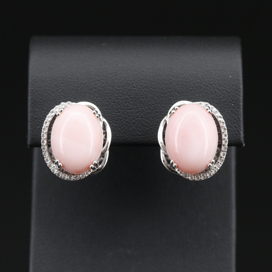 Sterling Silver Opal Earrings with Topaz Accents