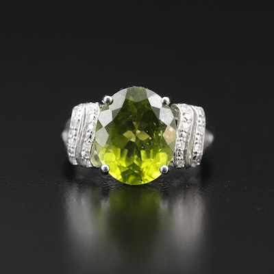 Sterling Peridot and Diamond Ring