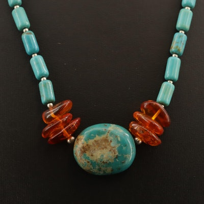 Turquoise and Amber Necklace with Sterling Silver Accent Beads and Clasp