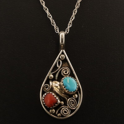 Western Sterling Silver Turquoise and Coral Necklace