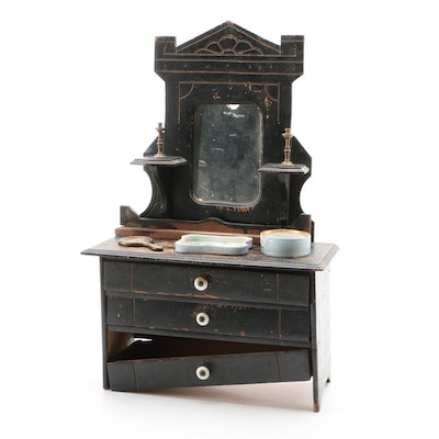 Miniature Empire American Lowboy Chest of Drawers with Mirror, 19th Century