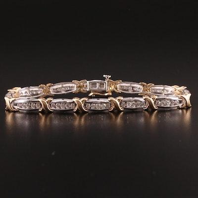 "14K 1.80 CTW Diamond ""X"" Link Bracelet"