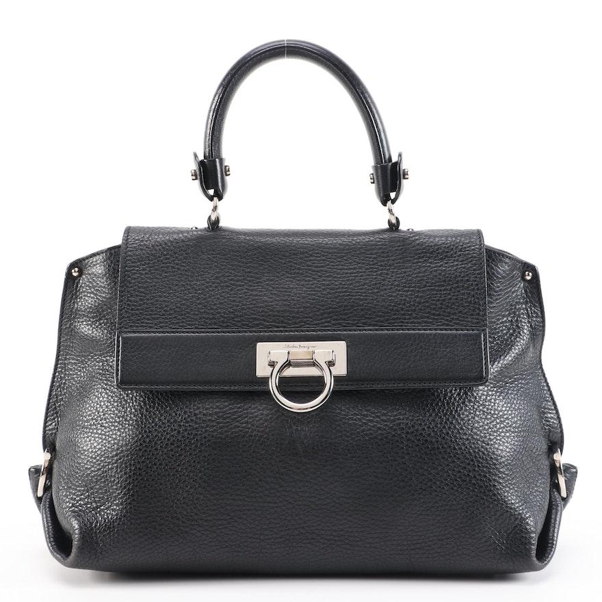 Salvatore Ferragamo Sofia Medium Two-Way Satchel in Black Calfskin Grain Leather