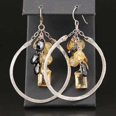 Sterling Citrine and Black Onyx Hammered Dangle Earrings