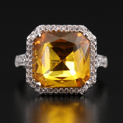 Sterling Silver Yellow Glass and Cubic Zirconia Split Shoulder Cocktail Ring