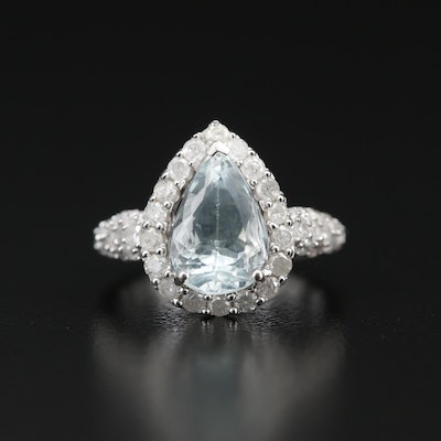 Sterling Silver Aquamarine and Diamond Halo Teardrop Ring