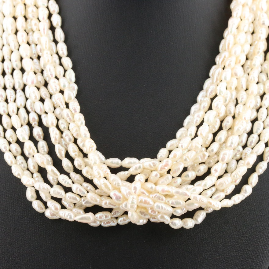 Multi-Strand Rice Pearl Necklace