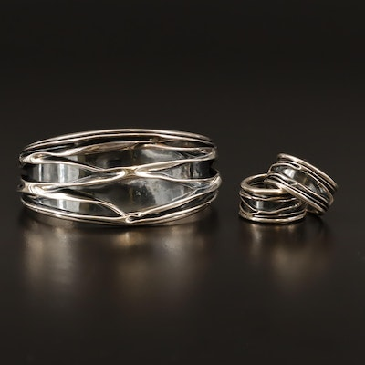 Modernist Sterling Tapered Cuff Bracelet and Hoop Earrings
