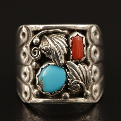 Signed Western Sterling Silver Ring with Turquoise and Coral