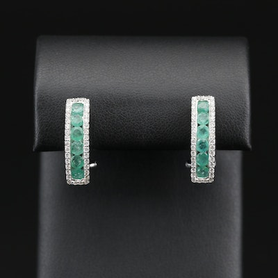 Sterling Emerald and Cubic Zirconia Drop Earrings