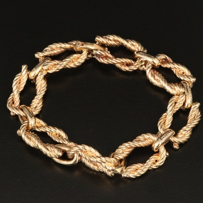 Vintage 14K Oval Rope Link Chain