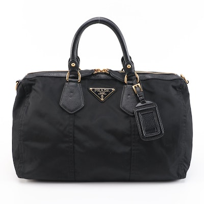Prada Business Travel Bag in Black Nylon with Grained Leather Trim
