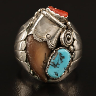 Southwestern Style Sterling Silver Ring with Mixed Stones