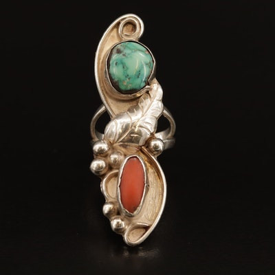Phil Chapo Navajo Diné Sterling Turquoise and Coral Feather Motif Ring