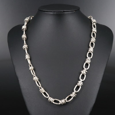 Sterling Silver Cable Chain Necklace with Banded Accents