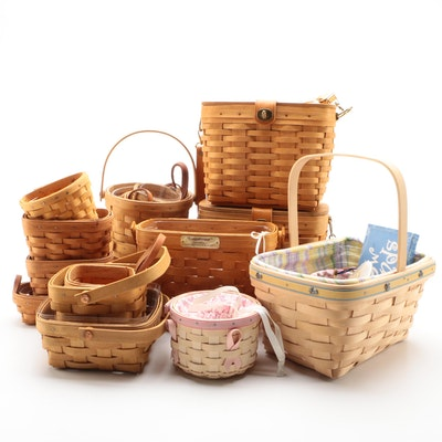 Longaberger Handwoven Baskets with Wooden and Pewter Ornaments