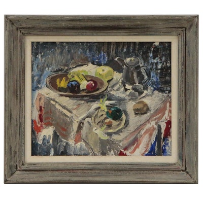 Modernist Style Tablescape Oil Painting