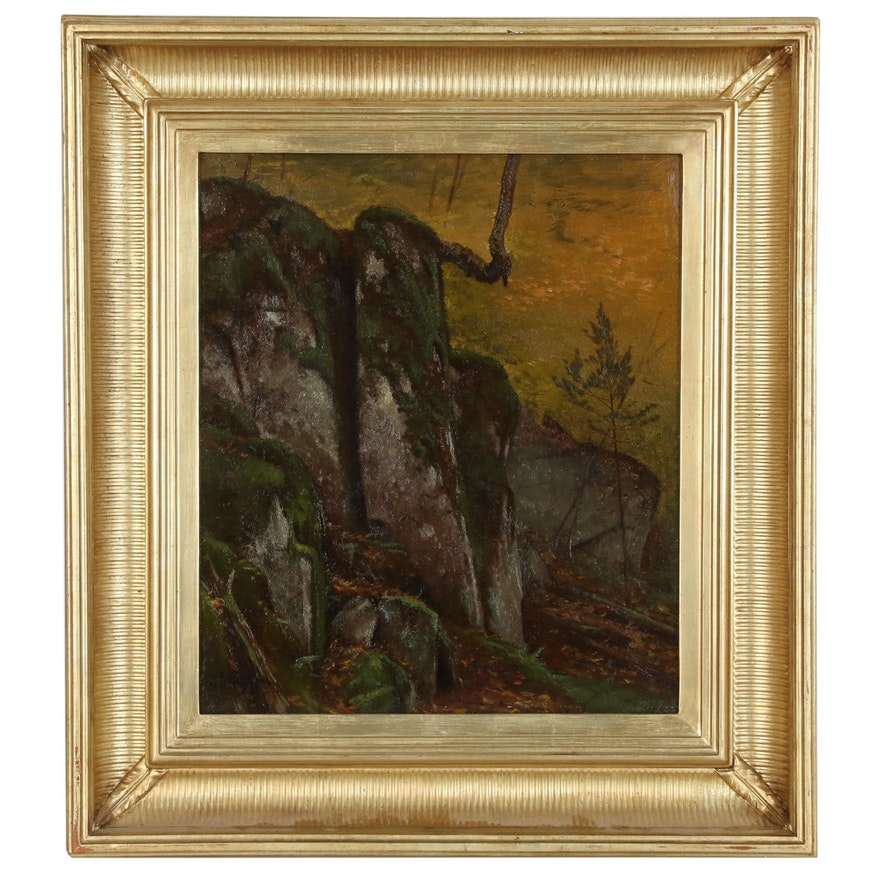 "J. Carleton Wiggins Oil Painting ""Rocky Hillside"", Late 19th Century"