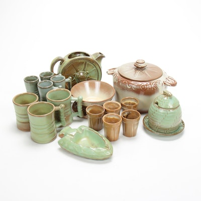 Frankoma Southwest Style Art Pottery Tableware, Mid to Late 20th Century