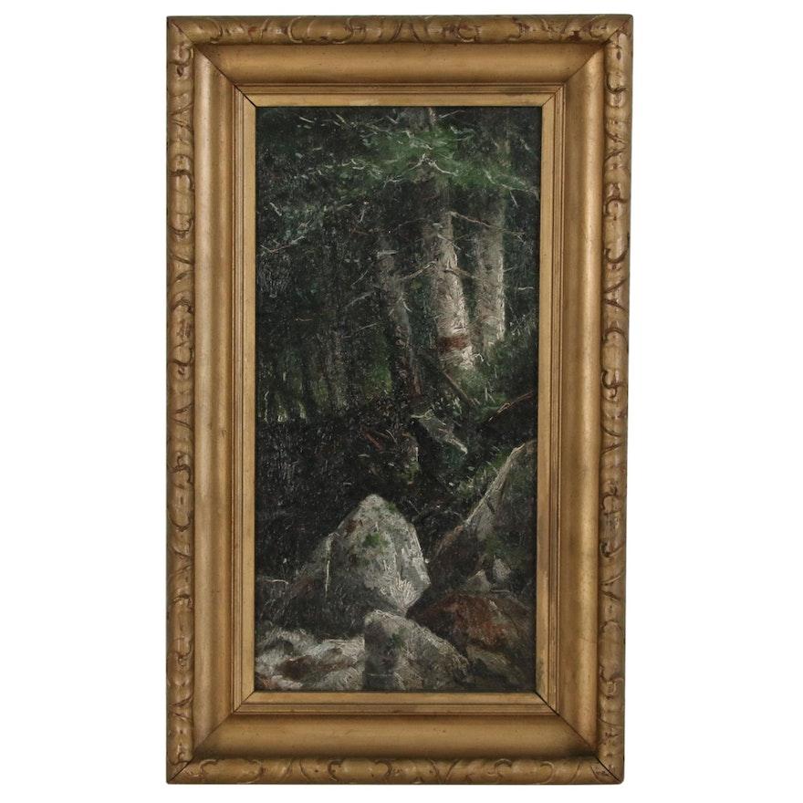 William H. Weisman Forest Interior Landscape Oil Painting