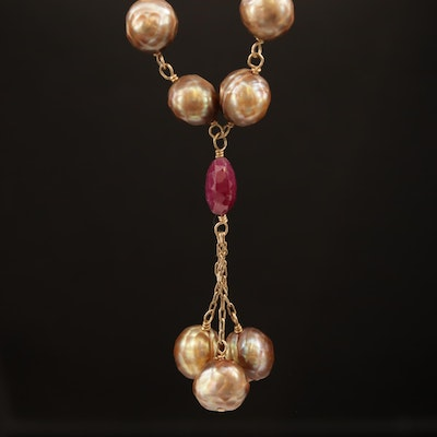 Ruby and Pearl Y Necklace