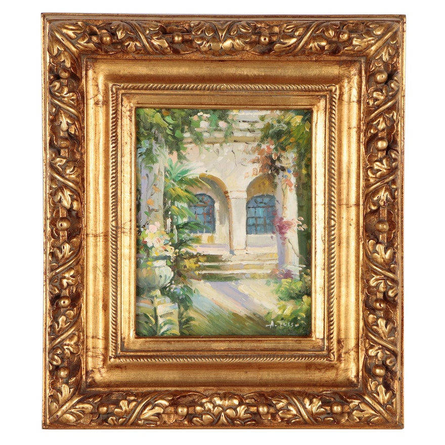 Decorative Oil Painting of Courtyard, Late 20th to Early 21st Century