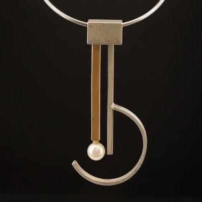 Modern Sterling Pearl Asymmetrical Studio Pendant on Wire Chain