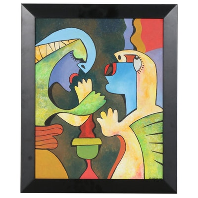 Cubist Style Acrylic Painting of Figures, 21st Century
