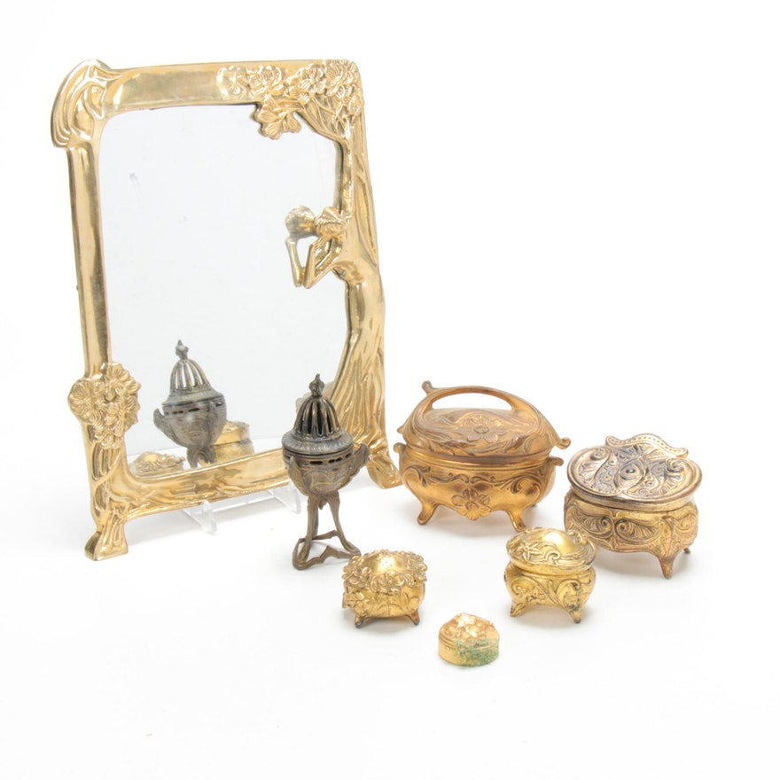 Art Nouveau Vanity Mirror, Boxes, and Other Vanity Decor, Early-Mid 20th Century