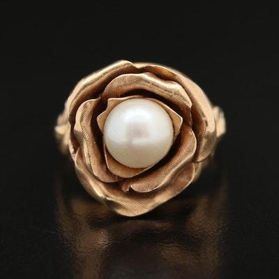 Vintage 14K Pearl Rose Ring